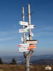 Drogowskazy na Kucałowej Przełęczy (błędnie oznakowanej jako Hala Krupowa)