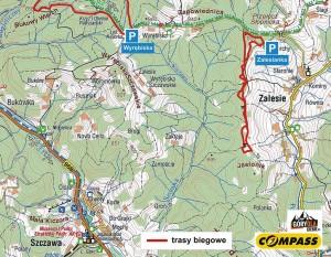 """""""Mała"""" narciarska trasa biegowa pod Mogielicą, mapa"""