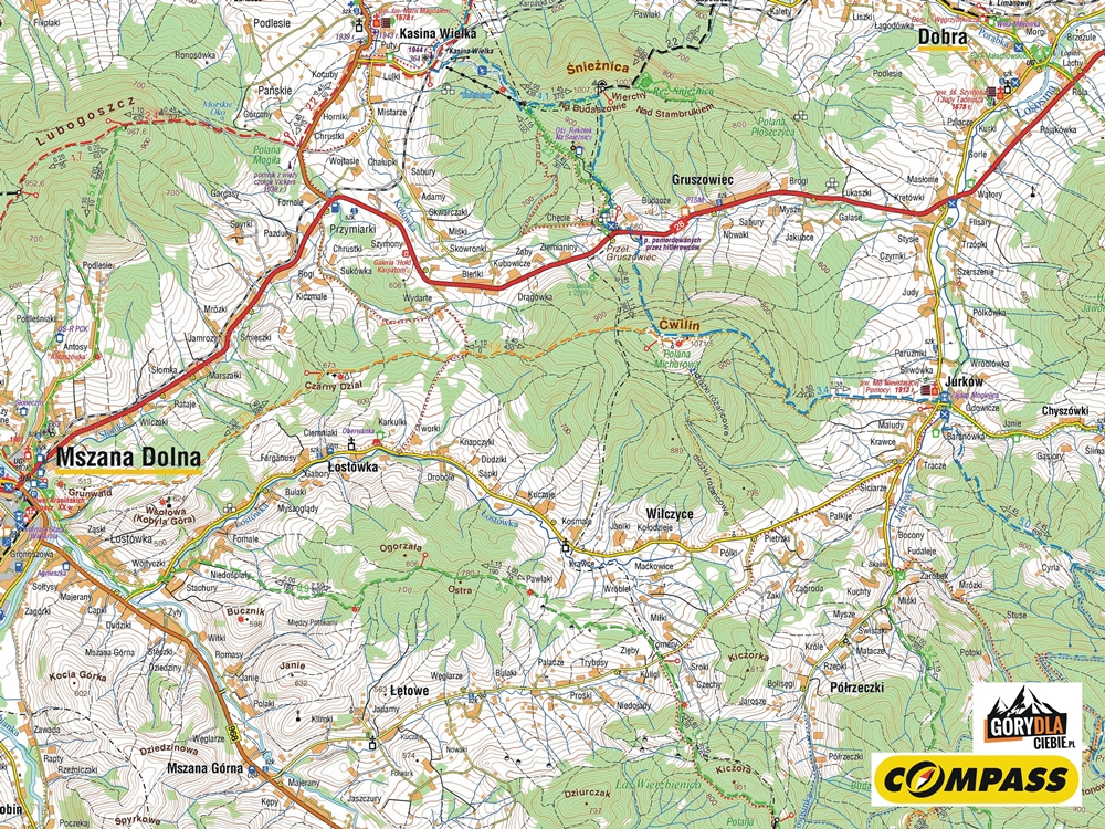 Beskid Wyspowy, mapa rejonu Ćwilina