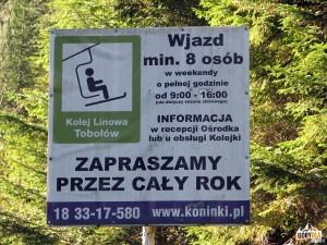 Tablica informacyjna kolejki na Tobołów