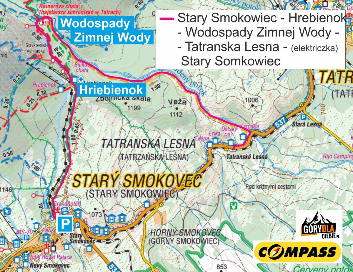 Hrebienok i Wodospady Zimnej Wody - mapa trasy
