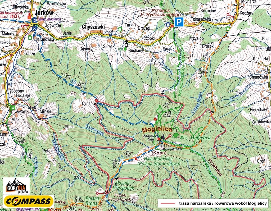 Mogielica - mapa turystyczna