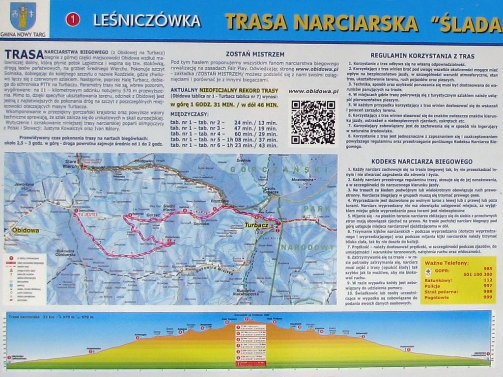 Fragment tablicy informacyjnej z mapą trasy z Obidowej na Turbacz