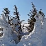 """""""Lodowe rzeźby"""" na grani Babiej Góry 1725 m"""