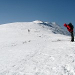 Silny wiatr na grani Babiej Góry 1725 m