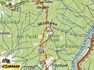 Beskid Wyspowy - mapa - PolanaPustki pod Jasieniem