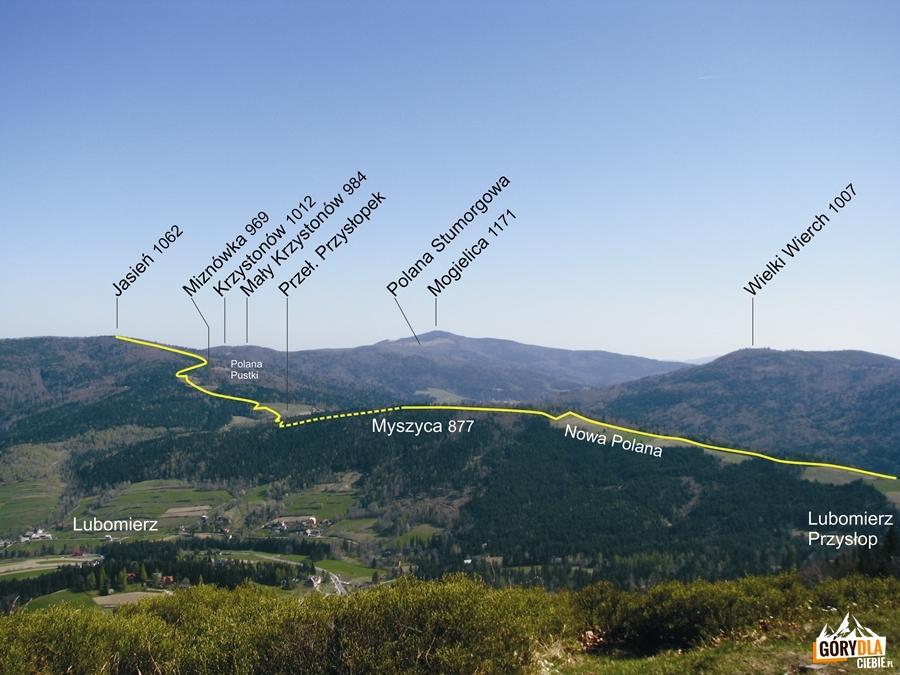Plan żółtego szlaku zPrzełęczy Przysłop naJasien 1062 m