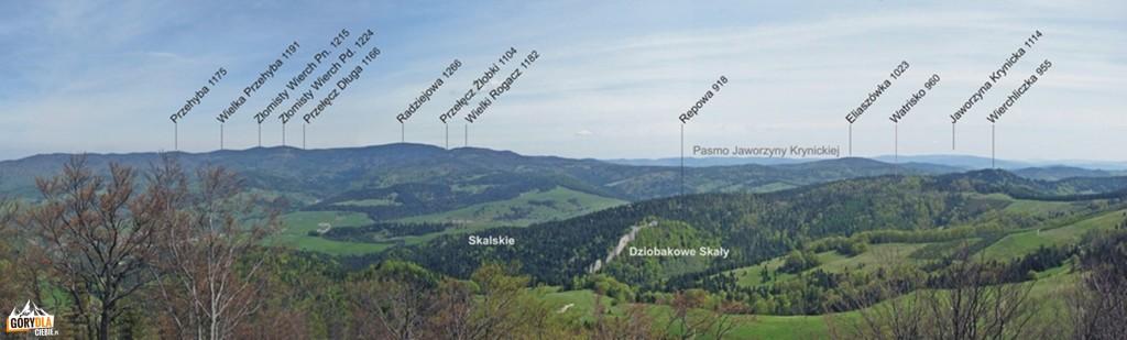 Panorama z Wysokiej 1050 m w kierunku wschodnim