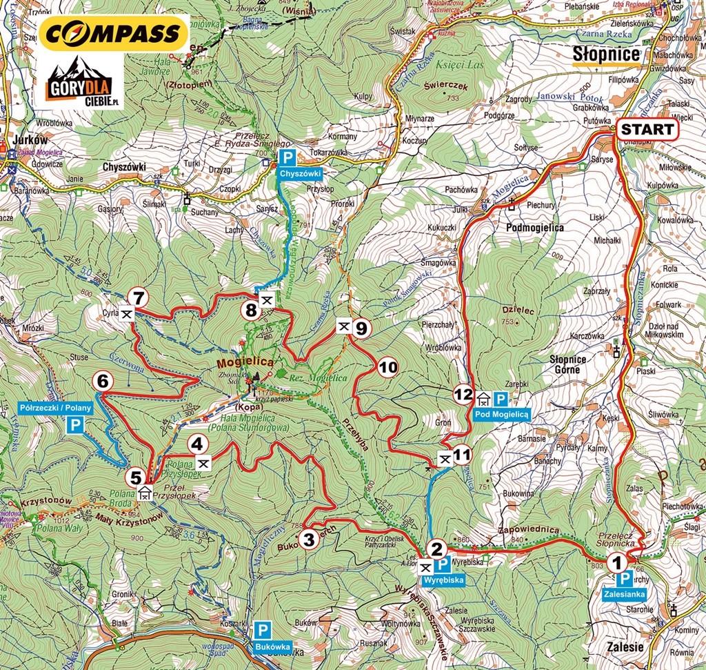 Mapa trasy wokół Mogielicy ze Słopnic