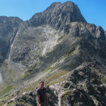 Kieżmarski Szczyt (słow. Kežmarský štít) 2558 m widziany z Rakuskiej Czuby (słow. Veľká Svišťovka) 2038 m