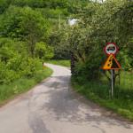 Pocztek kilometrowego bardzo stromego podjazdu wzdłuż Dunajca