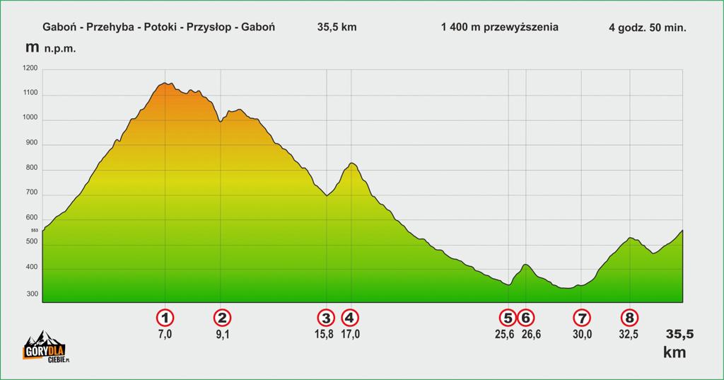 Gaboń - Przehyba - Gaboń profil trasy