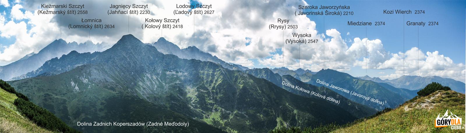 Panorama Tatr Wysokich z Szerokiej Przełęczy Bielskiej 1826 m