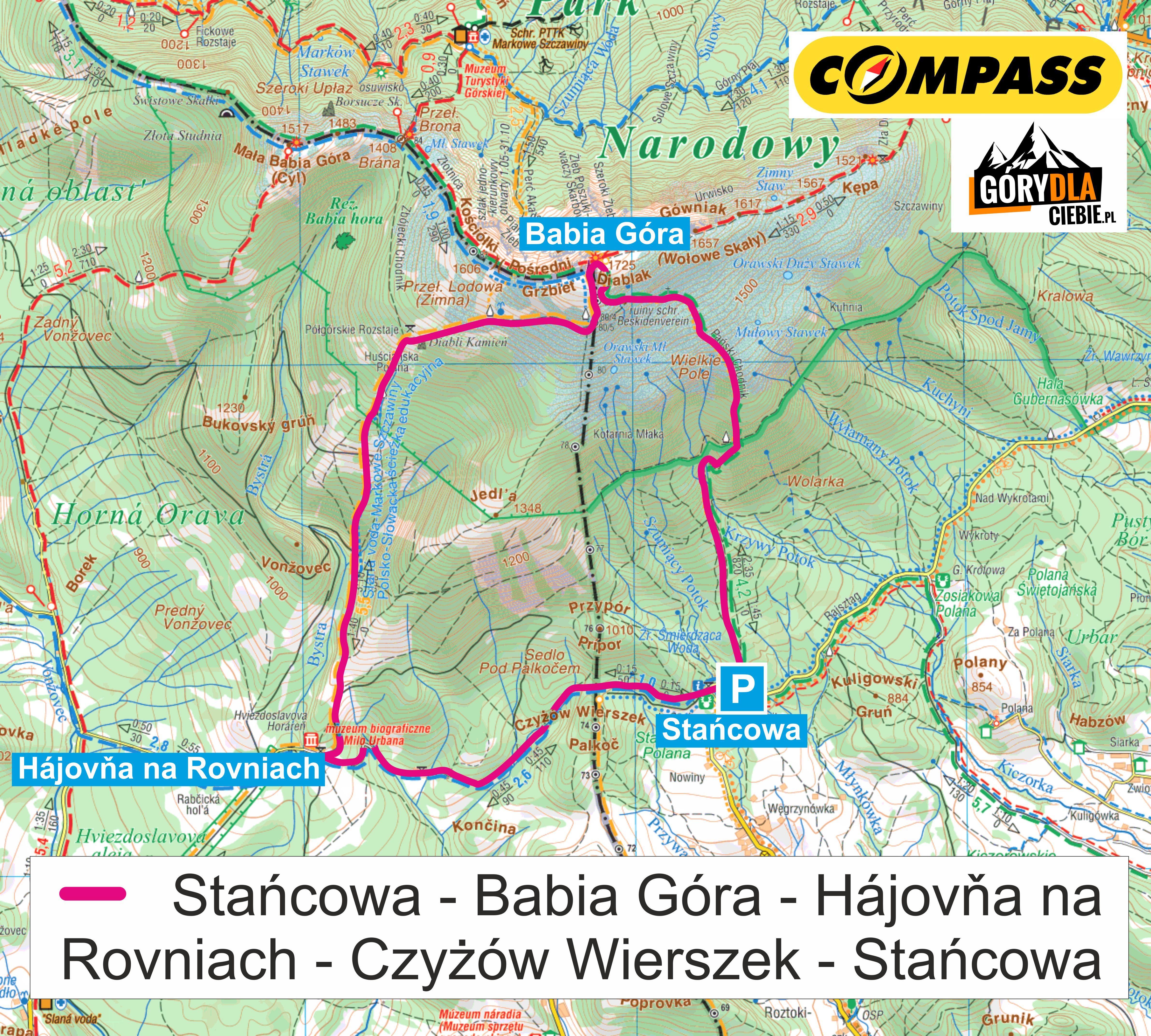 Babia Góra wariant polsko-słowacki mapa