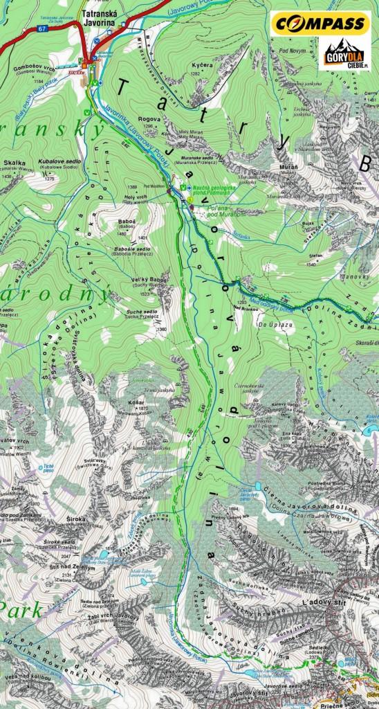 Lodowa Przełęcz z Tatranskiej Javoriny - mapa