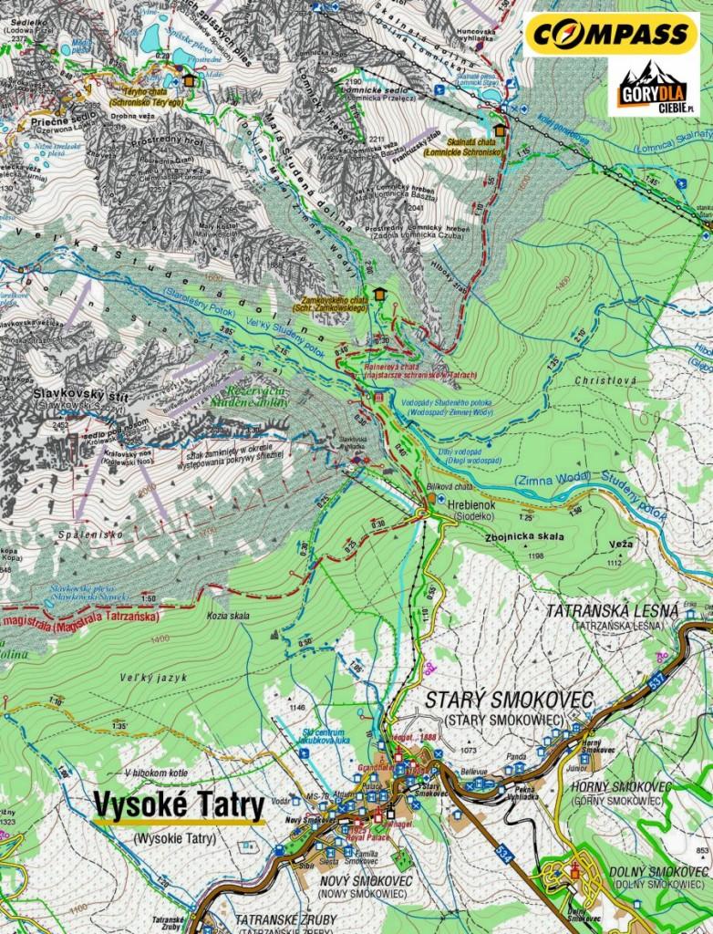 Z Lodowej Przełęczy do Starego Smokovca - mapa