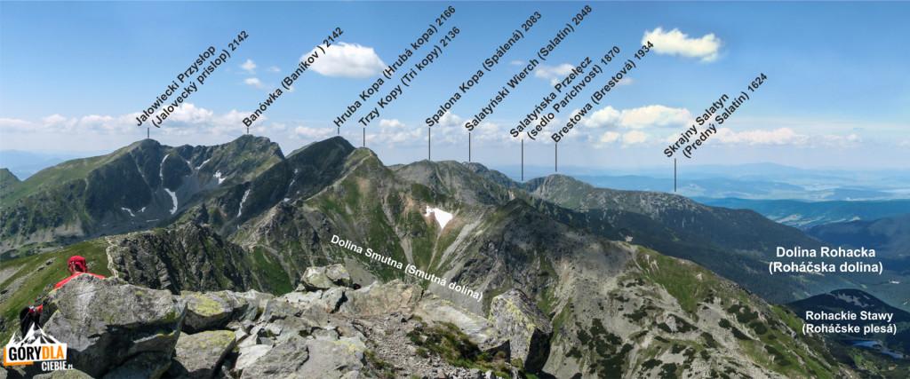 Panorama zRohacza Płaczliwego (słow. Plačlivý Roháč, 2125 m) wkierunku Banówki iBrestowej