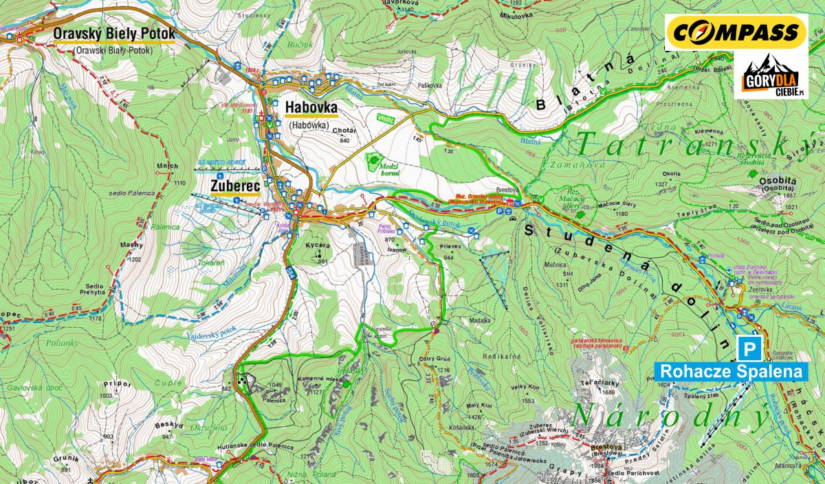 Zuberska Dolina - mapa