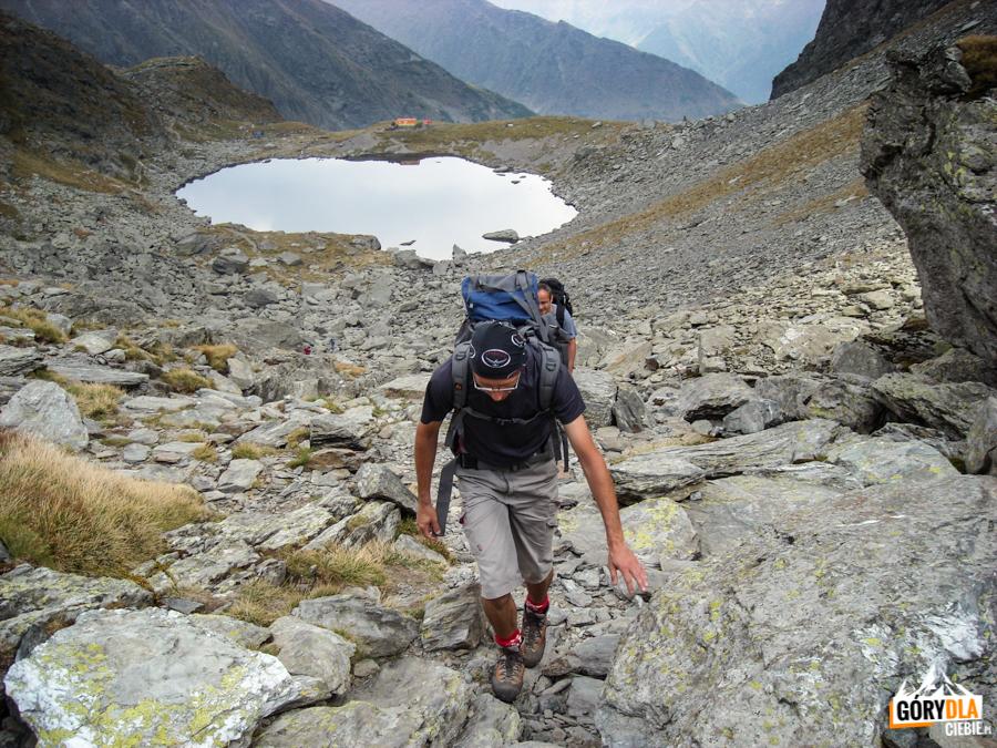 Wejście na główną grań Fogaraszy znad jeziora Lacul Călţun (2135 m)