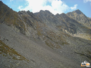Scieżka czerwonego szlaku pod granią przed Vârful Lăițel (2390 m)