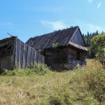 Pozostałości gospodarstwa pod przełęczą między Czarną Górą (805 m) a Żarem (883 m)