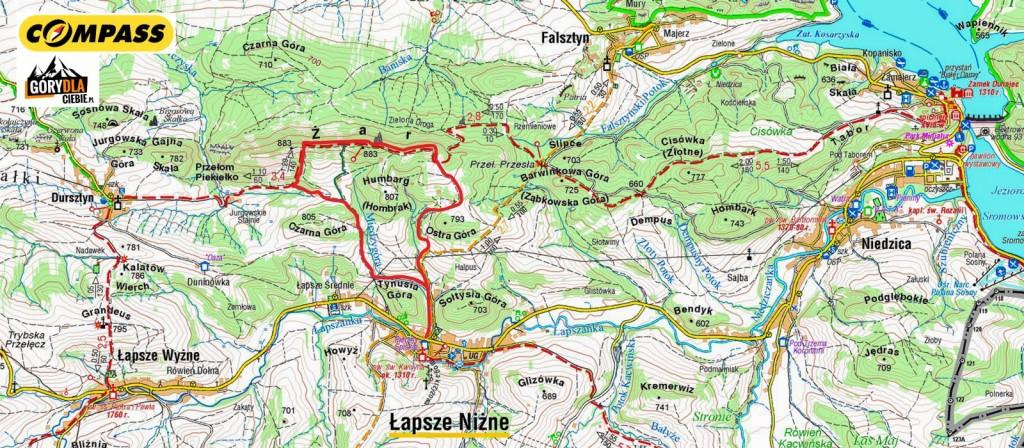 Żar z Łapsz NIżnych - mapa