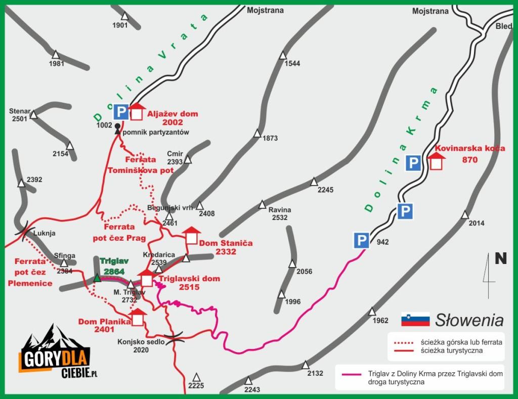 Triglav turystycznie mapa