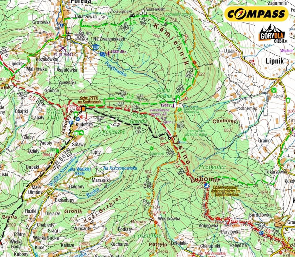 Kudłacze iokolice - mapa