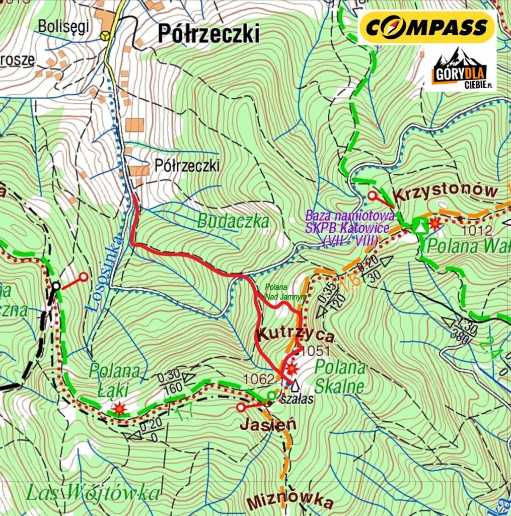 Jasień z Półrzeczek - mapa