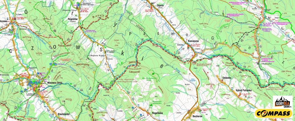 Beskid Niski 1 dzień - mapa