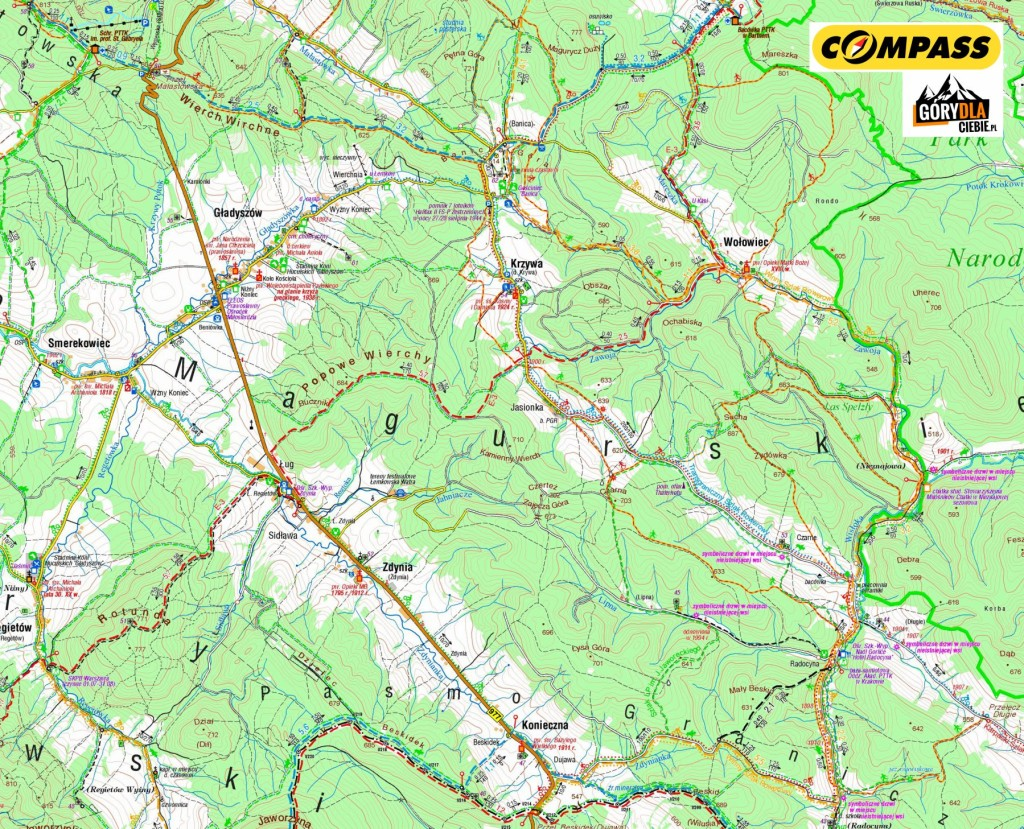 Beskid Niski 2 dzień - mapa
