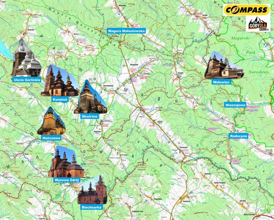 Beskid Niski - mapa cerkwi