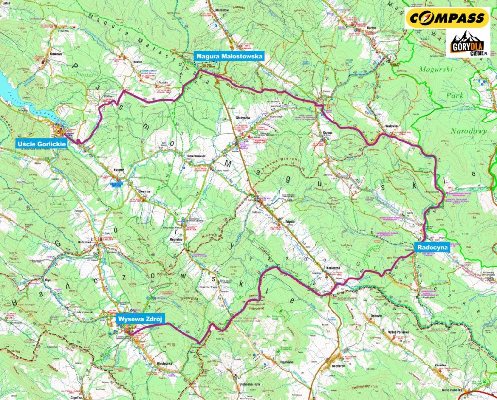 Beskid Niski - mapa wyprawy