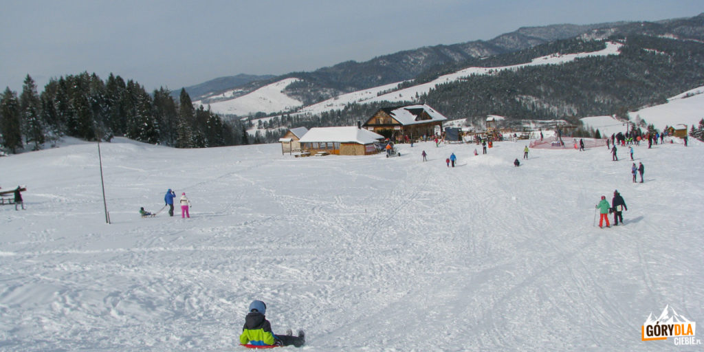 Widok z górnej stacji wyciągu narciarskiego na szałas Bukowinki