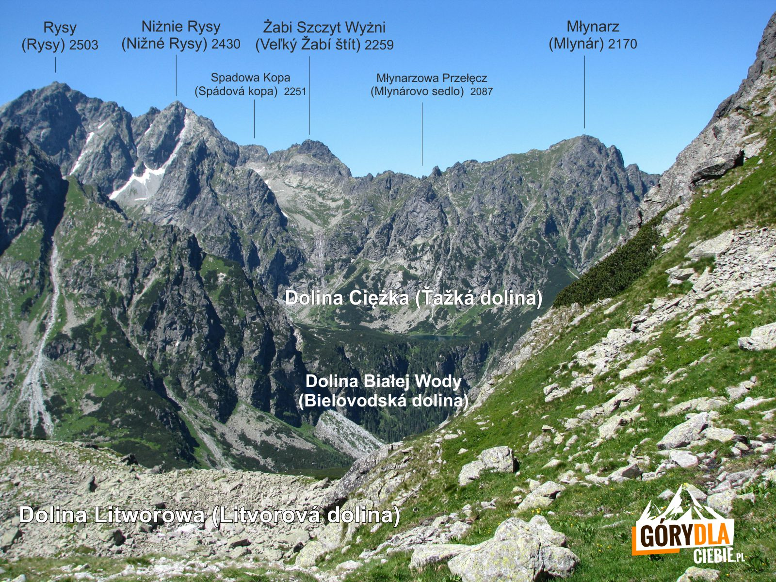Panorama rejonu Doliny Ciężkiej zDoliny Litworowej