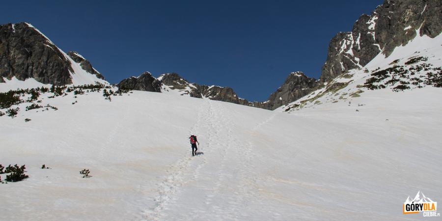 Podejście na próg Pustej Dolinki przez wyraźne na śniegu żółte plamy