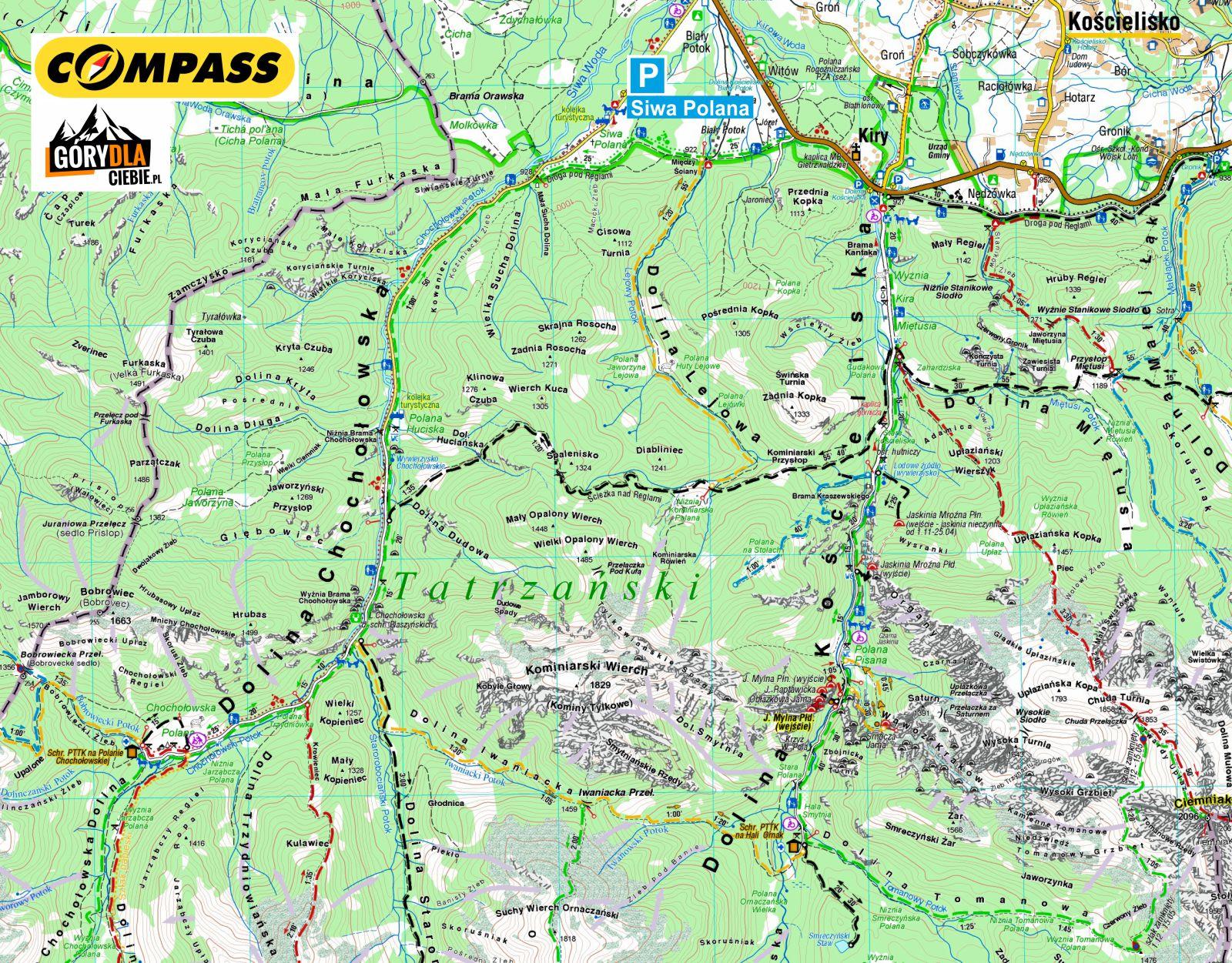 Dolina Chochołowska - mapa