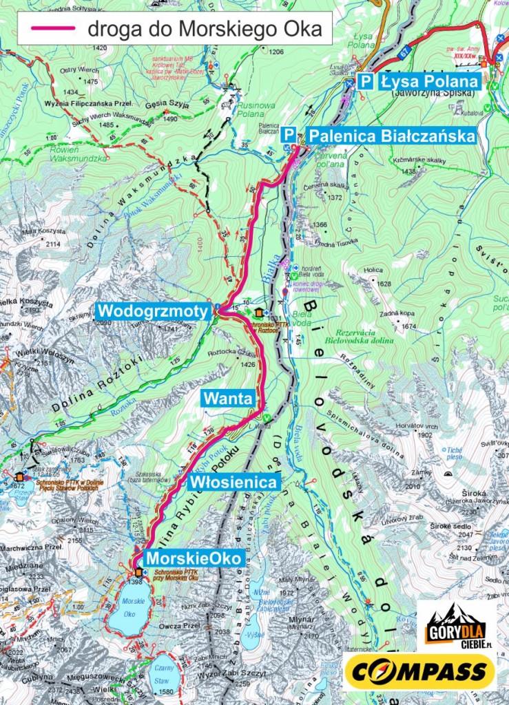 Droga doMorskiego Oka mapa