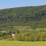 Panorama z drogi nad Myscową - cerkiew na tle lasu, przełom Wisłoki między Kamieniem a Suchanią