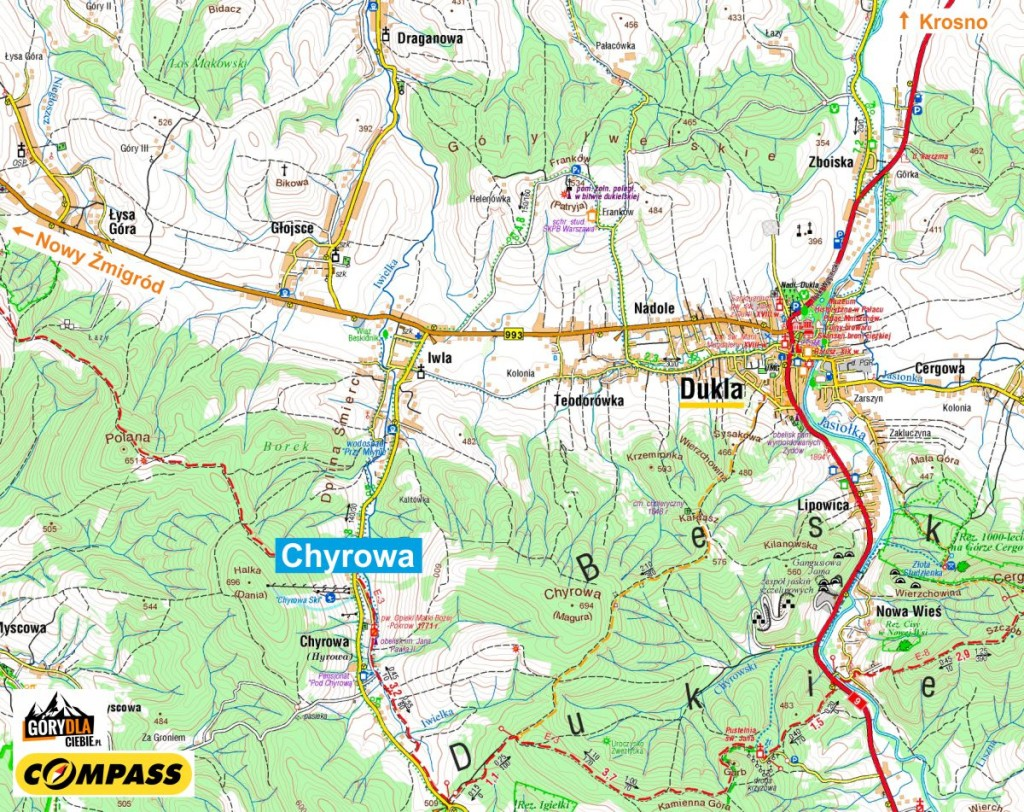 Chyrowa - mapa dojazdu