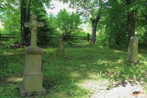 Cmentarz w Beniowej - w głębi kamienny nagrobek, na którym jest wykuty dzban (symbolizuje życie ludzkie)