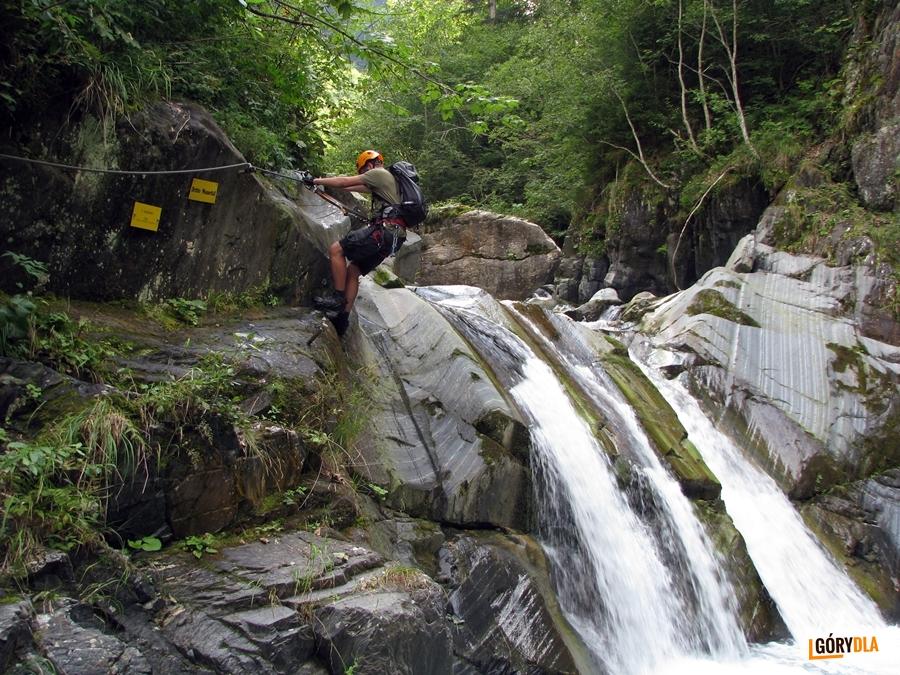 Jeden z wodospadów w Mauthner Klamm