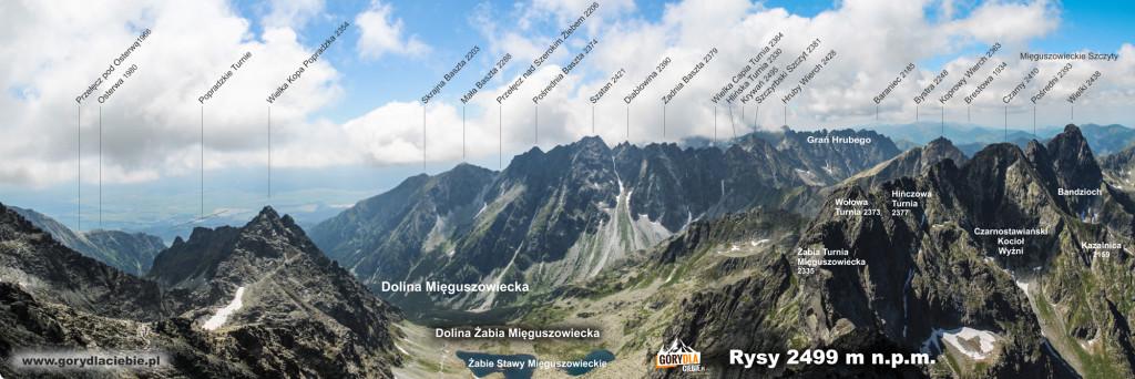 Panorama ze szczytu Rysów w kierunku południowym
