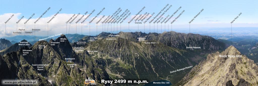 Panorama ze szczytu Rysów w kierunku pn-zach