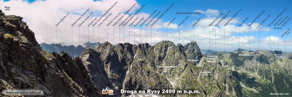 Panorama spod szczytu Rysów w kierunku zachodnim