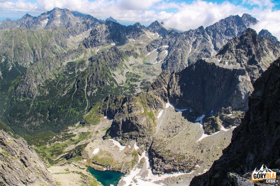 Widok z grani pod szczytem Rysów w głąb Doliny Ciężkiej, do której opada pionowa ściana Ganku (2462 m), a nad nimi góruje Gerlach (2655 m)