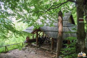 Drewniana wiata turystyczna przy czerwonym szlaku Brzegi Górne - Caryńska