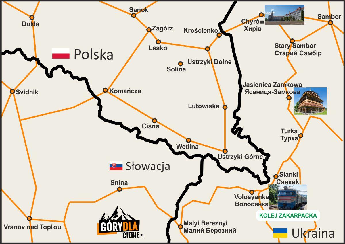 Kolej Zakarpacka mapa dojazdu