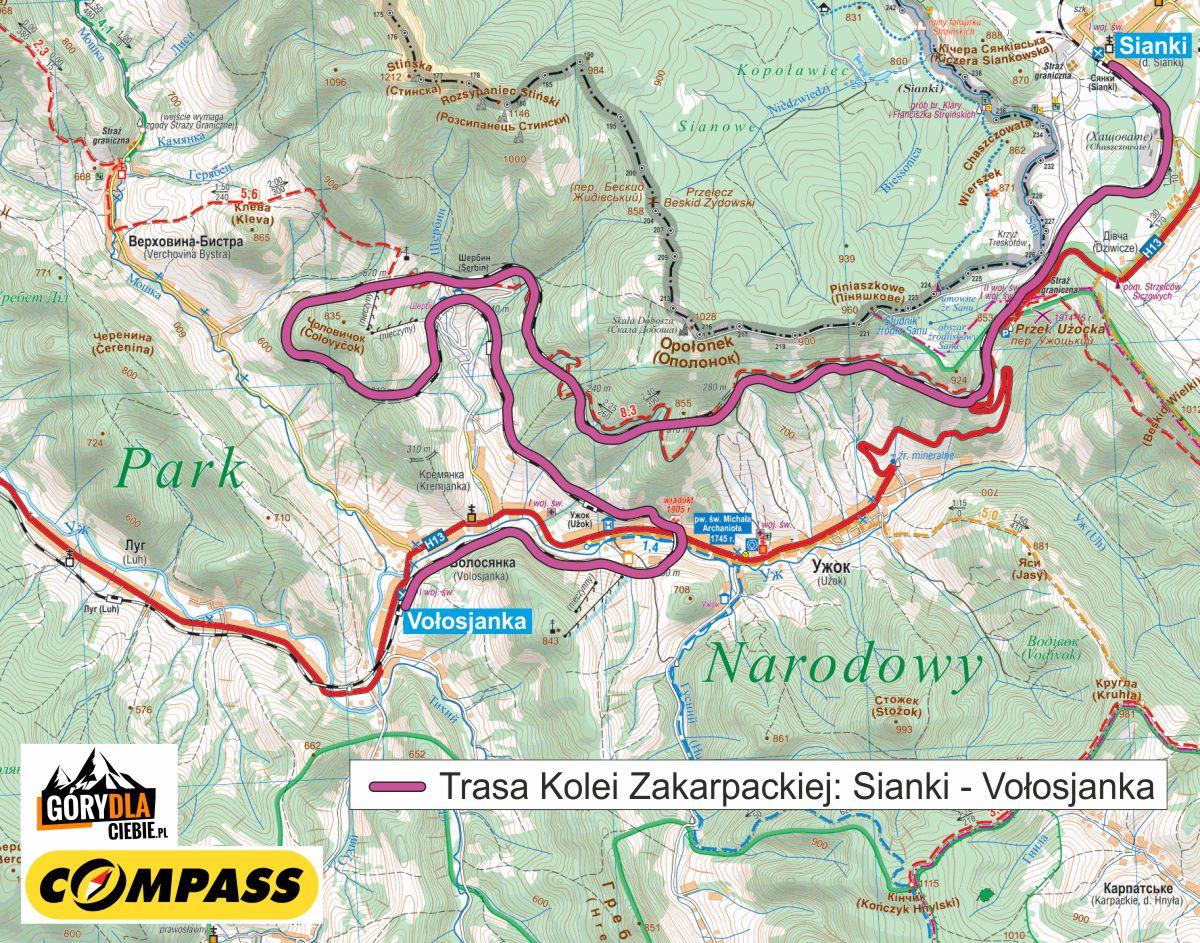 Kolej Zakarpacka mapa