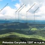 Połonina Caryńska - panorama w kierunku płn.-wsch. z opisem szczytów i miejscowości